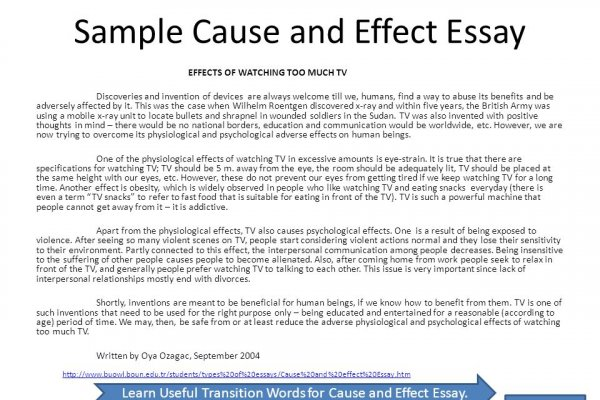 Sample Of Cause And Effect Essay